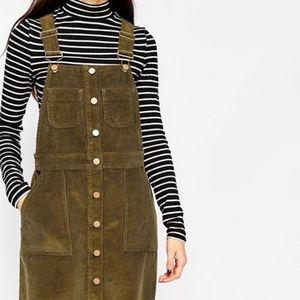 ASOS Olive Corduroy Overall Mini Dress - Size XS
